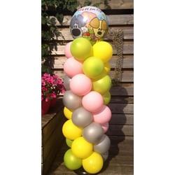 Woezel en Pip balloon pilaar gekleurd