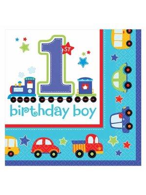 Servetten eerste verjaardag jongen transport
