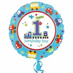 Folie ballon eerste verjaardag jongen transport (rond)