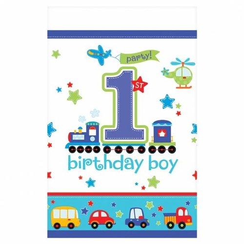 Tafelkleed eerste verjaardag jongen (transport)