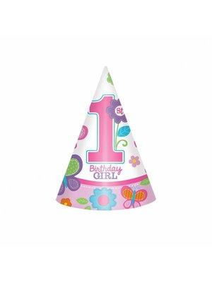 eerste verjaardag feesthoedje meisje (vlinder)