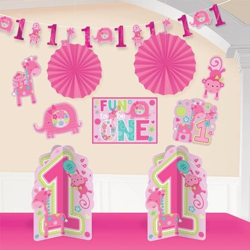 Kamer decoratie set eerste verjaardag meisje (safari)