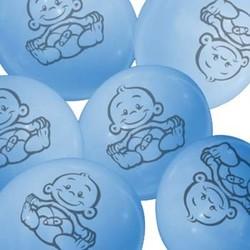 Ballonnen met afbeelding baby (blauw) 6 stuks