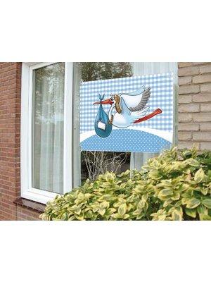 Geboorte raamvlag jongen, afbeelding ooievaar
