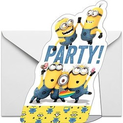 Minions uitnodigingen 8 stuks (met gele rand)