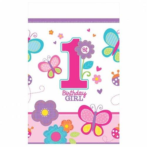 Tafelkleed eerste verjaardag meisje vlinder