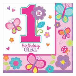 Servetten eerste verjaardag meisje vlinder