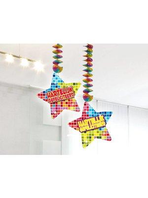 Hangdecoratie afbeelding hartelijk gefeliciteerd (serie blocks)