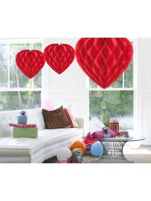 rode honingraat in vorm van een hart
