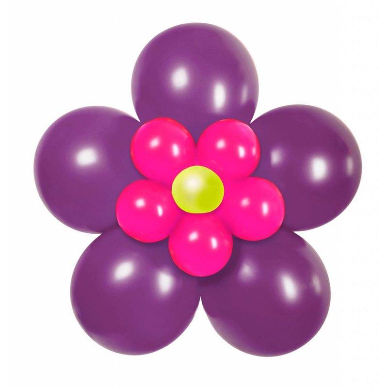 ballon set paarse bloem