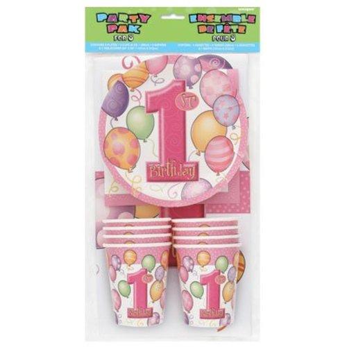 feestpakket eerste verjaardag meisje, roze ballonnen serie