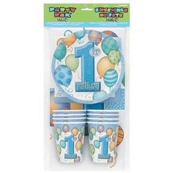 feestpakket 1e verjaardag jongen, blauwe ballonnen serie