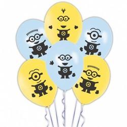 Minions / despicable Me ballonnen latex (geel en blauw met effen afdruk)