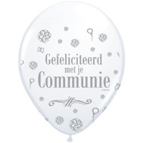 Communie versiering ballonnen 8 stuks wit met tekst: gefeliciteerd met je communie
