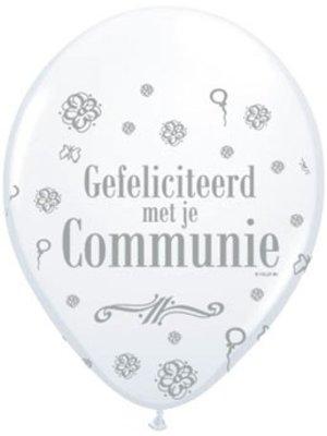 Communie versiering ballonnen 8 stuks metallic wit met tekst: gefeliciteerd met je communie