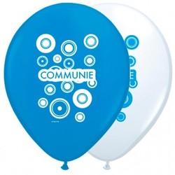 Communie versiering ballonnen blauw/wit 8 stuks