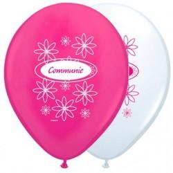Communie versiering ballonnen roze/wit 8 stuks