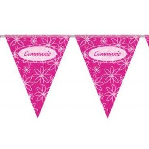 Communie versiering vlaggenlijn roze/wit