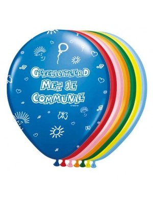 Communie versiering ballonnen 8 stuks gekleurd