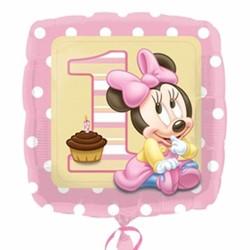 Minnie Mouse 1e verjaardag vierkante folie ballon