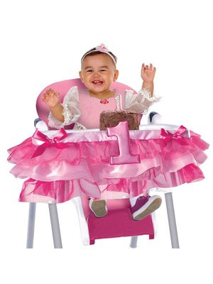 Hoera 1 jaar luxe kinderstoel versiering meisje