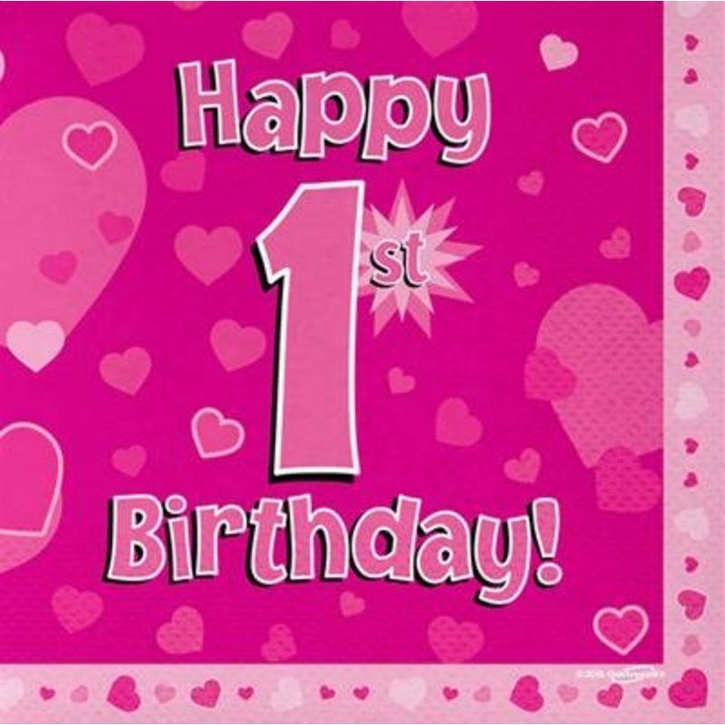 Hoera 1 jaar versiering meisje: servetten happy 1st birthday