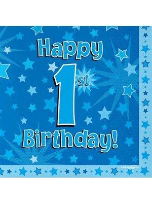 1 jaar versiering jongen: servetten happy 1st birthday