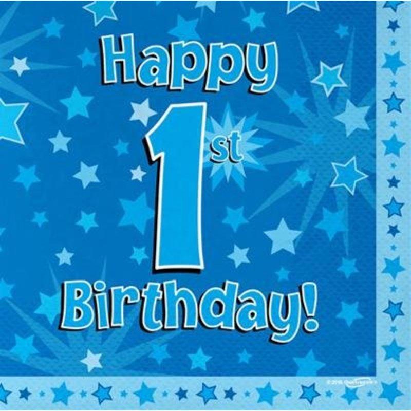 Hoera 1 jaar versiering jongen: servetten happy 1st birthday