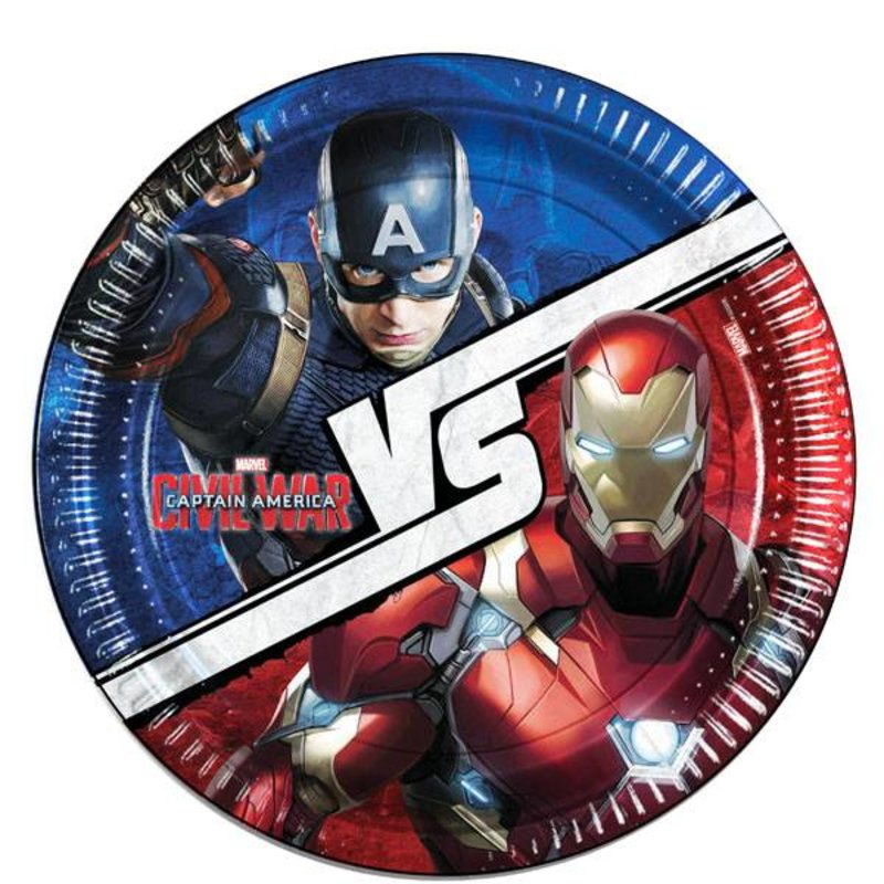 Captain America Civil War feestartikelen: borden 23cm 8 stuks