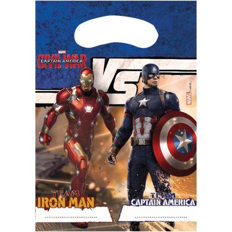 Captain America Civil War feestartikelen: feestzakjes 6 stuks