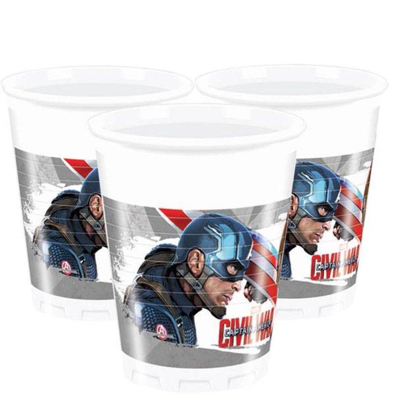 Captain America Civil War feestartikelen: bekers 8 stuks