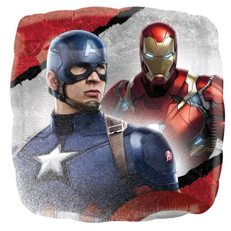 Captain America Civil War feestartikelen: ballon vierkant (voor lucht en helium)