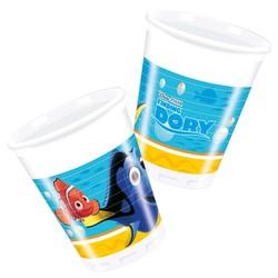 Finding Dory feestartikelen: bekers (plastic 8 stuks)
