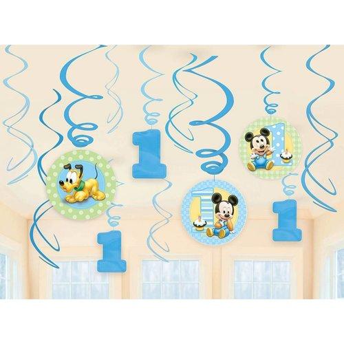 Baby Mickey Mouse hangdecoratie 1 jaar