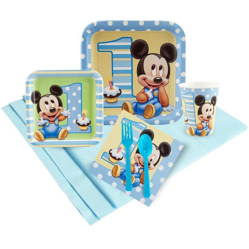 Baby Mickey Mouse feestartikelen 1 jaar, feestpakket (o)