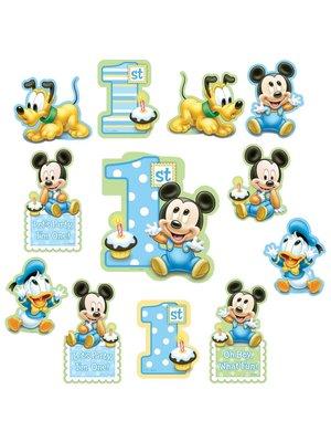 Mickey Mouse 1e verjaardag papieren plaatjes 12st.