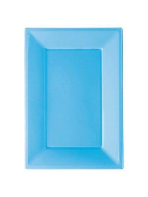 Rechthoekige schalen (3 stuks) licht blauw