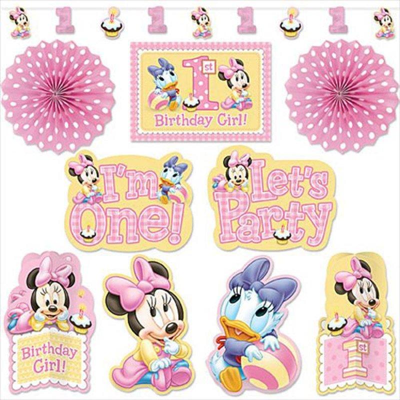 Baby Minnie mouse feestartikelen 1 jaar: feestpakket (decoratie)