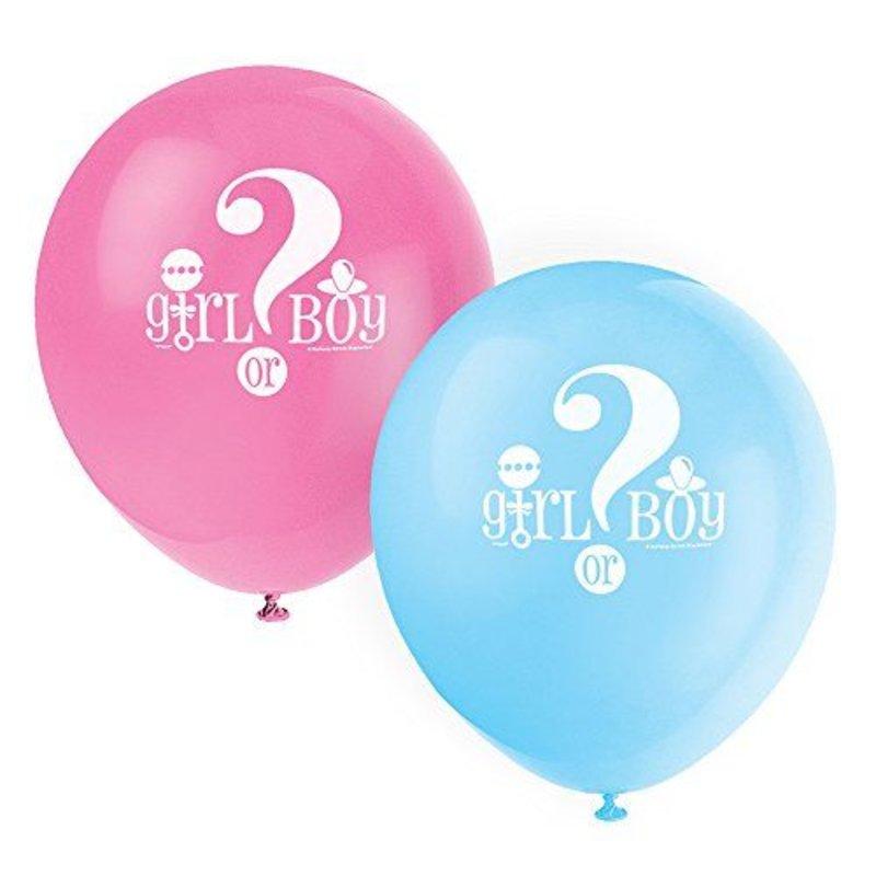 8 gender reveal ballonnen (boy or girl?)