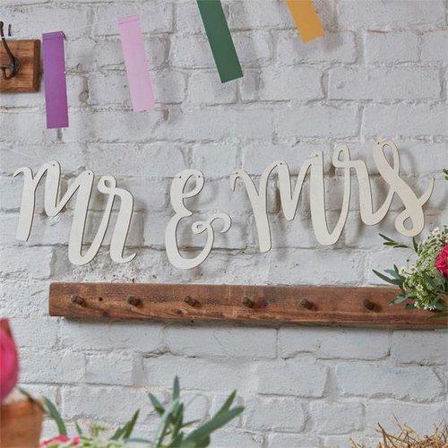 houten slinger voor bruiloft, mr & mrs (groot)
