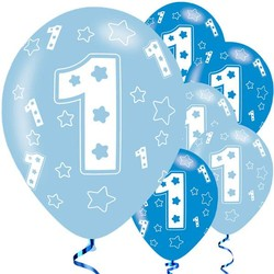 blauwe ballonnen 1e verjaardag sterren