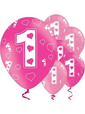 roze ballonnen 1e verjaardag hartjes