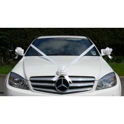 luxe wit lint voor auto (bruiloft) met 3 strikken