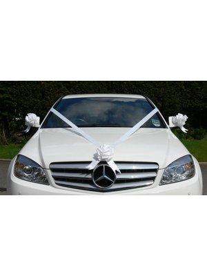 bruiloft auto decoratie: luxe wit lint voor auto met 3 strikken