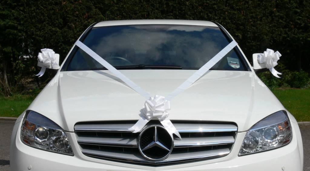Bruiloft auto decoratie luxe wit lint voor met