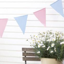 vintage vlaggenlijn blauw en roze stip