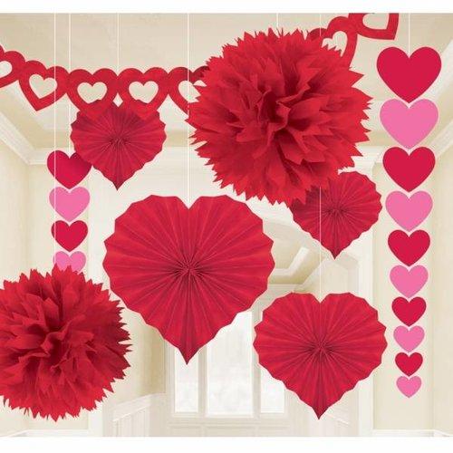 kamerdecoratie set rood valentijn / bruiloft
