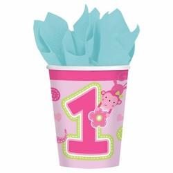 roze bekers eerste verjaardag (safari) meisje