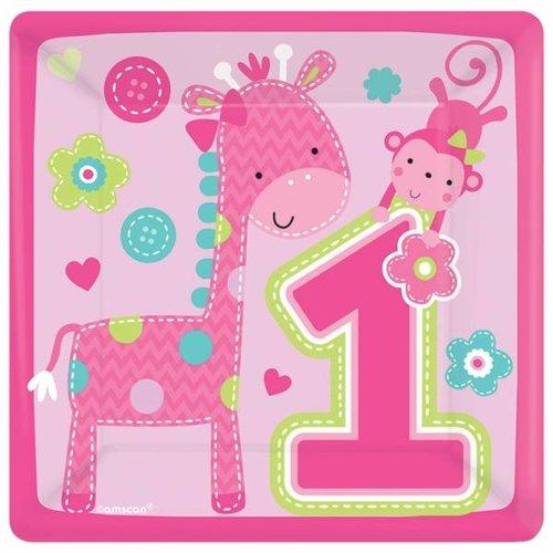 roze vierkante servetten 1e verjaardag (Safari) meisje