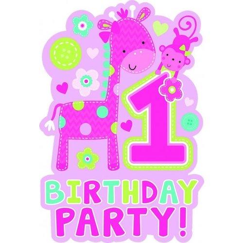 roze uitnodigingen 1e verjaardag (Safari) meisje